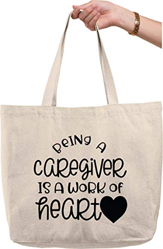 Being a caregiver is a work of heart love funny assistance Natural Canvas Tote Bag funny gift