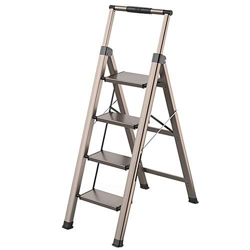 LJSJT Escaleras Plegables Escalera de Aluminio Pesado Barandilla telescópica Escalera de 4...