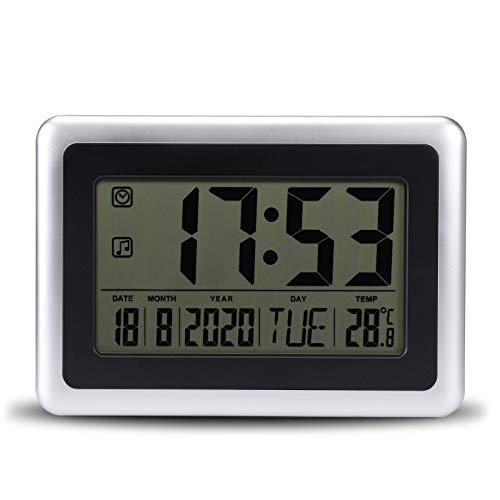 Topker LCD Digital de Pared Grande del termómetro del Reloj del Calendario de Escritorio Medidor de Tiempo Alarma electrónica Interiores Temperatura