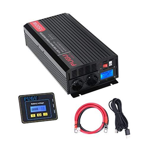 Wechselrichter Reiner Sinus 1500W/3000W Watt 12v auf 230v Auto Wechselrichter Umwandler Spannungswandler mit 3 Meter Fernbedienung, LCD und Kabel