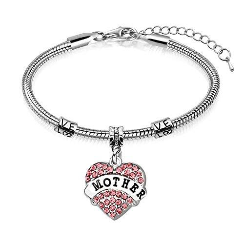 lffopt Mum Bracelets Mother Daughter Bracelets Birthday Gifts For Mum Mum And Daughter Bracelet Gifts For Mum From Daughter Gift For Mum Mam Bracelet pink,mother