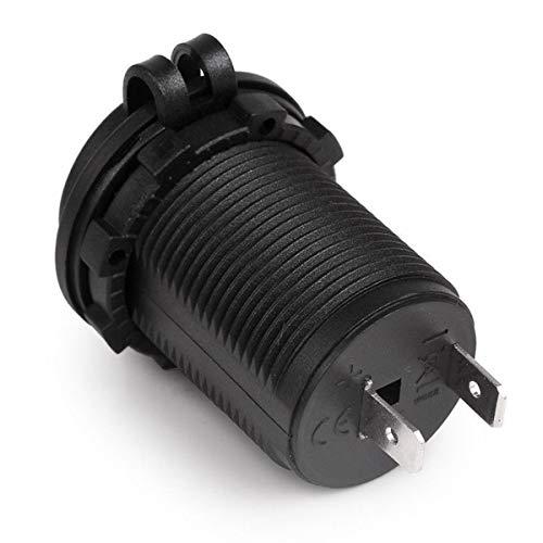 QinKingstore 防水車のオートバイのバイクのシガーライター電源ソケットソケットプラグアウトレット電源アダプタ12-24V黒に適合
