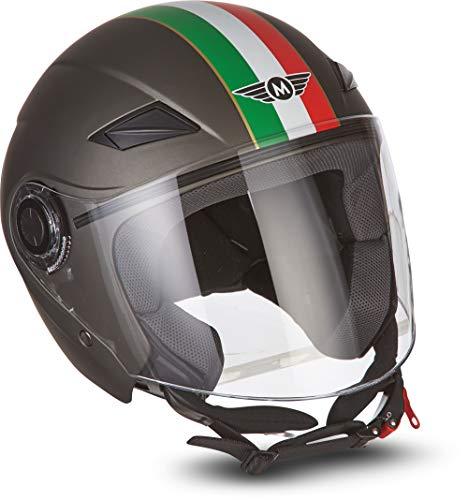"MOTOHelmets® U52 ""Venice Titan"" · Jet-Helm · Motorrad-Helm Roller-Helm Scooter-Helm Bobber Mofa-Helm Chopper Retro Cruiser Vintage Pilot Biker · ECE Visier Schnellverschluss Tasche XL (61-62cm)"