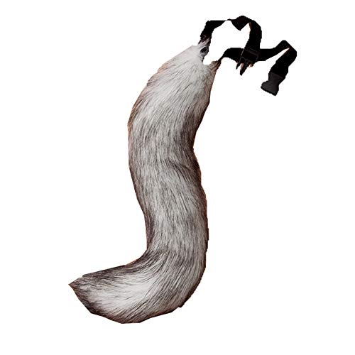 COSFLY Faux Fur Tail for Adult/Teen Furry Wolf Dog Fox Puppy Costume Halloween Party Cosplay Props (Gray)