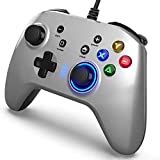 Rnnokate Wired Gaming Controller, Joystick Gamepad with Dual-Vibration PC Game Controller Compatible with PS3, Switch, Windows 10/8/7 PC, Laptop, TV Box, Android Mobile Phones, 6.5 ft USB Cable silver