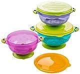 3 Taille Mettez Bowls bébé Restez aspiration avec couvercle étanche, Tout-petit-pression d'aspiration Spill-Proof for l'alimentation Go de stockage Set