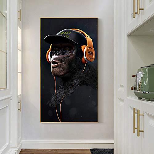 ganlanshu AFFE Kunstplakat Tier Wohnzimmer Dekoration auf Leinwand Musik Brille Kopfhörer an der Wand,Rahmenlose Malerei-60X108cm