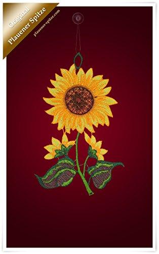 Plauener Spitze Fensterbild Reife Sonnenblume (Bx H) 14cm * 24cm