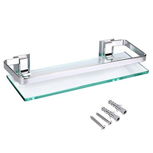 IGNPION Glasregal mit Aluminiumschiene Badezimmer rechteckiger Duschkorb Organizer Wandmontage