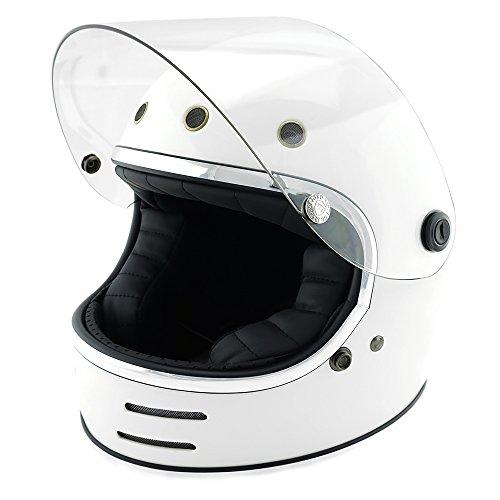 NEO VINTAGE レトロフューチャー フルフェイス SG規格品 [ホワイト×クリアシールド 白 Mサイズ:57-58cm対応] VT-9 バイクヘルメット
