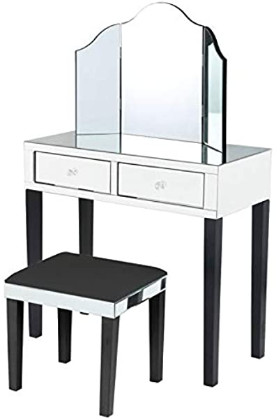 Posh Living Caleb Mirrored Black Vanity Set 3 Piece Set Stool And Mirror