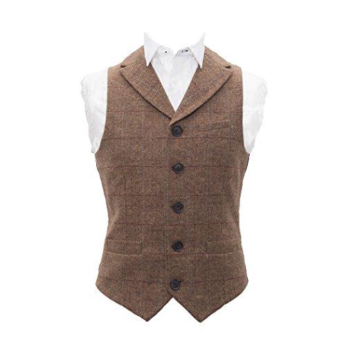 Luxuriöse Weste mit Fischgrätenmuster, braun, Tweed mit Revers, taillierte Passform Gr. XXL, Tweed Braun