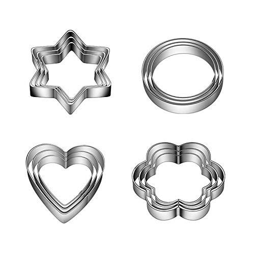 YSJJZRL Mini emporte-pièces de pâtisserie, 12 pcs emporte-pièces en Acier Inoxydable Coeur étoile Cercle Fleur en Forme de Moule Rond/Gadgets de Cuisine/moules de Cuisson