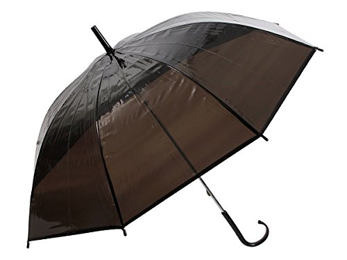 Alsino Stockschirm Stock transparent Regenschirm City Schirm Langschirm mit Griff, 61/1885 schwarz