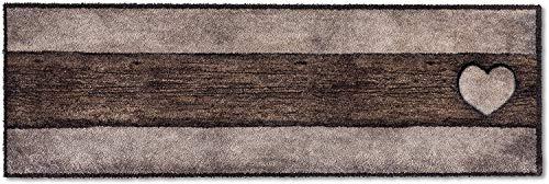 Läufer Küchenläufer Küchenteppich Teppich Teppichläufer Antirutschmatte Küchenmatte Vorleger für die Küche waschbar rutschfest 50x150 cm groß Landhaus-Stil Holzoptik Herz Braun