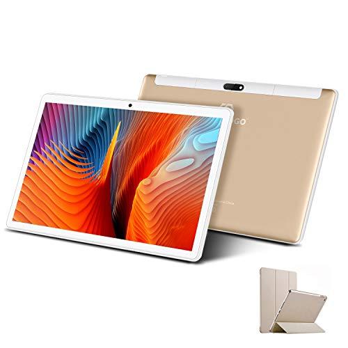 Tablet 10 Pulgadas 4G Full HD 3GB de RAM 32GB/128GB de ROM Android 10.1 Certificado por Google GMS Quad Core Tableta Batería de 8000mAh Dual SIM 8MP Cámara Tablet PC Netfilx WiFi Bluetooth OTG, Oro
