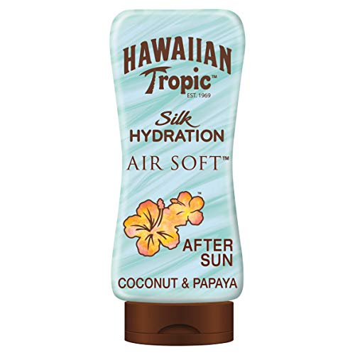 Hawaiian Tropic AfterSun Air Soft - Loción Hidratante Ultra Ligera para Después de la Exposición al Sol, Fragancia Coco y Papaya, Verde, 180 ml