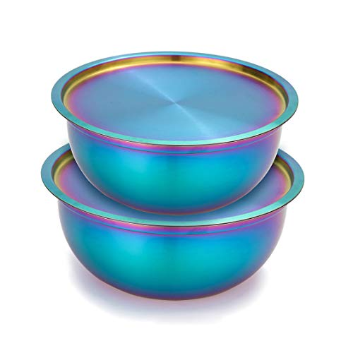 Onlycooker Mixing Bowl Set with Lids, Rainbow Salad Bowl 18/10 Stainless Steel Nesting Bowl 2 Piece for Chef Cooking, Storage, Baking, Dough, Egg, Fruit, Kitchen Food Prep Matte Finish 2.5, 3 Quart