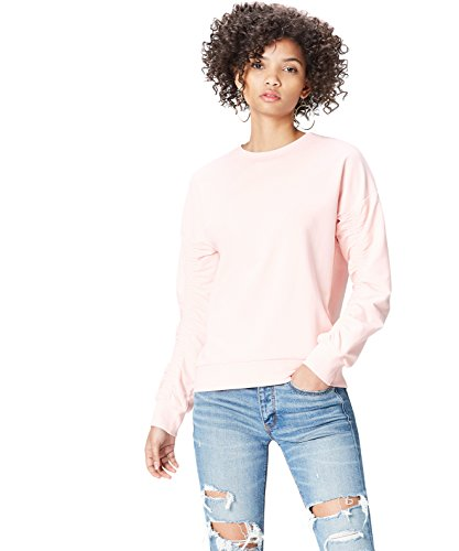 Amazon-Marke: find. Damen Asymmetrische Biker-Jacke mit Rüschen, Rosa (Soft Peach), 40, Label: L