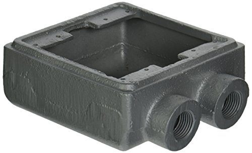 "Appleton FSS-2-50 Weatherproof Cast Device Box, FSS, 2 Gang, Malleable Iron, 1/2"" Hub"