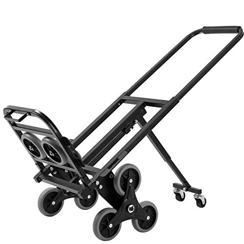 Hihone Stair Climber Hand Truck Heavy Duty, 330LBS Capacity Stair Climbing Folding Hand Truck 6 Wheels & 2 Backup, Adjustable Handle Length Dolly Cart Trolley for Stairs, Flat Ground