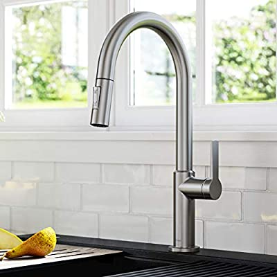 Kraus KPF-2820SFS Oletto Single Handle Pull-Down Kitchen Faucet, 17 Inch, Spot Free Stainless Steel