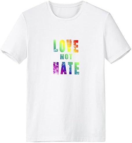 DIYthinker LGBT Regenboog Gay Lesbische Transgender Biseksuelen Ondersteuning Liefde Niet Haat Vlag Illustratie CrewNeck Wit Tshirt Lente en Zomer Tagless Comfort Katoen Sport Tshirts