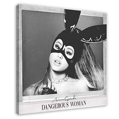 Toile décorative représentant la chanteur américaine et l'actrice Ariana Grande Dangerous Woman Album de musique Impression sur toile Décoration murale pour salon, chambre à coucher 50 × 50 cm