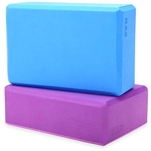 H&S 2 x Yoga Block High Density EVA Foam Brick Eco Friendly Purple Blue (Sports)