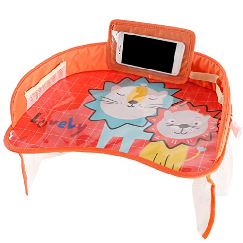 Car Baby Safety Seat Tray Child Car Storage Small Table Pallet Waterproof (Orange)