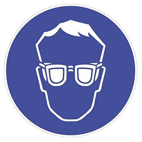 easydruck24de Gebotsaufkleber Augenschutz benutzen, Art. hin_180, DIN 4844-2, Ø 20cm, Hinweis, Achtung, Warnhinweis, Gebotshinweis, Augenschutz benutzen, Schutzbrille