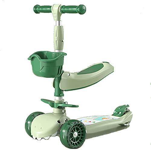 Scooter de 3 ruedas para niños - Stand & Cruise Toddlers juguete plegable scooters con altura ajustable, cubierta antideslizante, luces de rueda intermitente, para niños / niñas de 2 a 12 años,Verde