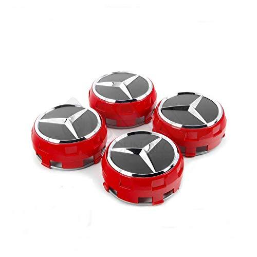 IGGY Tapa de Cubo Rojo Negro de 75 mm Compatible Clase A B C E CLK GL M ML - para Ruedas de aleación de Tachuelas