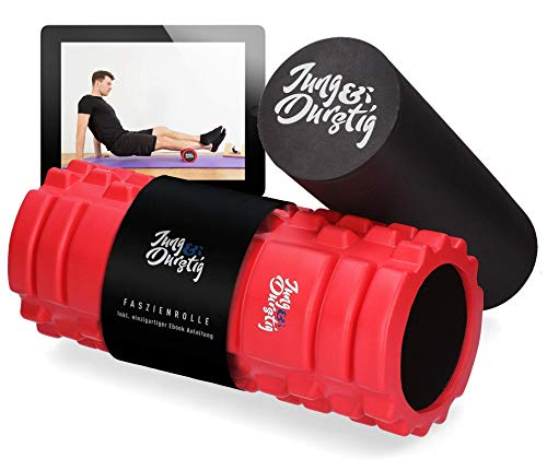 Jung & Durstig Original 2in1 Faszienrolle mit Anleitung | Massagerollen für Beine, Rücken und Wirbelsäule | Genoppte Schaumstoffrolle inkl. E-Book zur Selbstmassage mittlerer Härte (ohne Duoball)