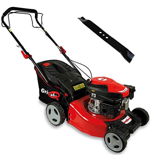 Grizzly Tools Benzin-Rasenmäher - Hinterradantrieb - Easy Clean - 46 cm Schnittbreite - 6 Schnitthöhen - 50 ltr Hardtoop Fangsystem - langlebiges Stahlblechgehäuse - inkl. Ersatzmesser