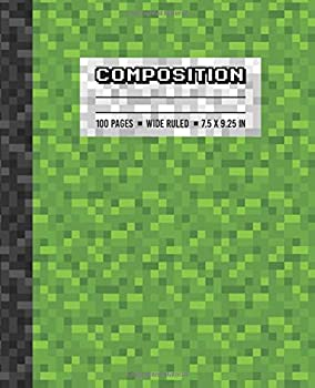 Composition  Wide Ruled Writing Notebook For Boys and Girls Green Pixel Gamer Pattern Blank Lined Book