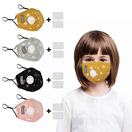ANEAR Niños 4 Piezas Revestimiento Facial Lavable, Protección Facial con 8 Filtros de Carbono Reemplazables