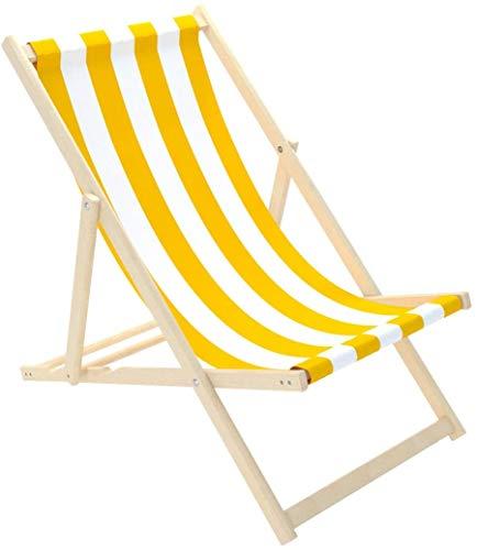 Novamat Gartenliege aus Holz Klappbar Liegestuhl Relaxliege Strandstuhl Klappliegestuhl, Motiv:Streifen - Weiß. Orange