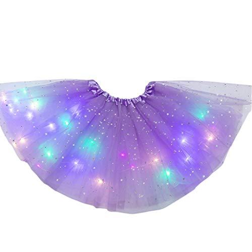 Lisanl Frauen LED Ballettröckchen-Rock, Stern Pailletten-Ballettröckchen Rock LED Leuchten Buntes Tanzparty Kurzschluss-Neonkleid