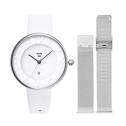 腕時計 替えベルト セット メンズ レディース 2way ホワイト シルバー 人気 ブランド おしゃれ レザー 36mm KLON INFINITY STAIR series -STANDARD- [36/W-FACE]