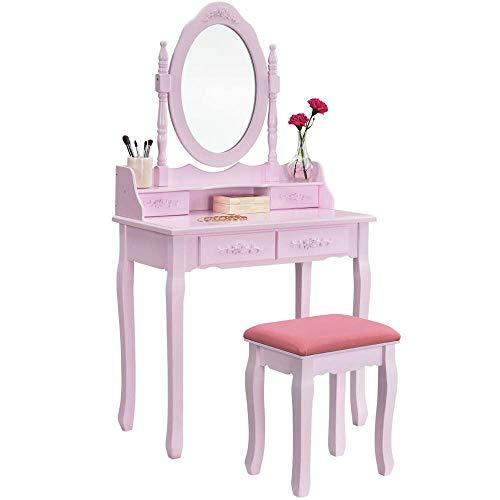 XuanYue Specchiera Tavolo Bianco Vanity Trucco Toeletta 5 Cassetti con Specchio Ovale e Cassetti per Bambine (Stile 1-Rosa)
