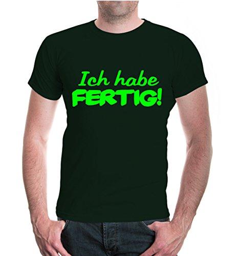 T-Shirt Ich Habe fertig-XL-Bottlegreen-Neongreen