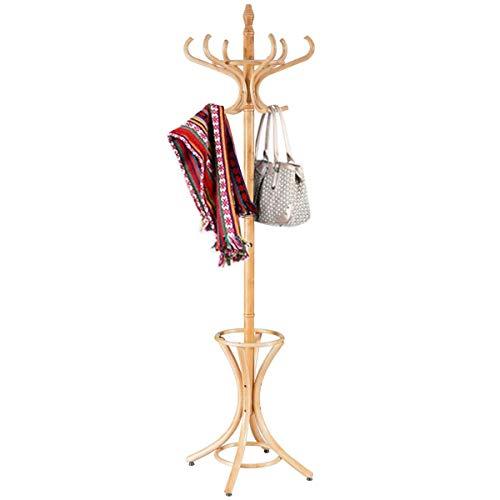 Costway Porte Manteau sur Pieds avec 12 Crochets en Bois Massif pour Manteaux Chapeaux Parapluie 51 x 51 x 184CM