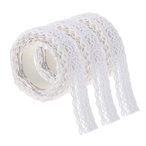 SM SunniMix 3pcs Cinta Adhesiva Blanca de La Cinta del Washi del Cordón de Los 2m Autoadhesiva para