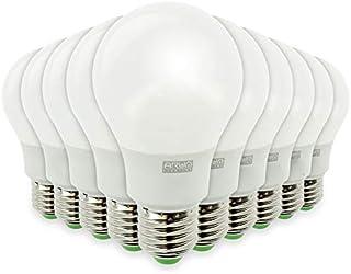 Lote de 10 bombillas LED E27 9 W equivalentes a 60 W, 806 lm, no regulable, color blanco cálido