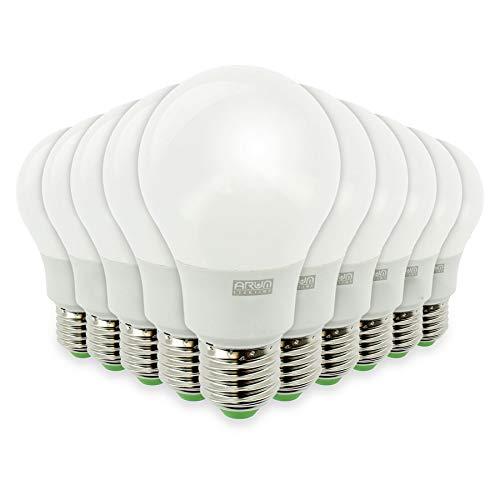Lote de 10 bombillas LED E27 9W equivalente a 60W 806lm, no regulables… (blanco natural)