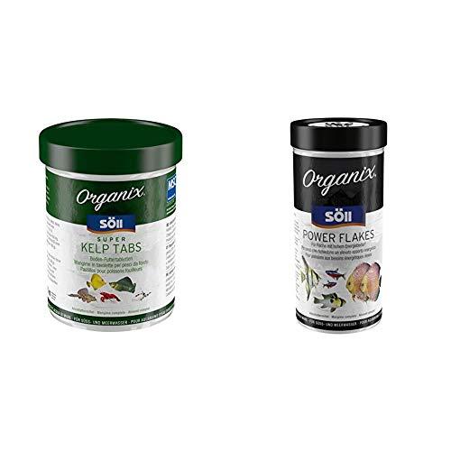 Söll Organix; Super Kelp Tabs, Bodenfuttertabletten, 1er Pack (1 x 270 ml) & Organix Power Flakes - Hauptfutter für Zierfische - Flocken