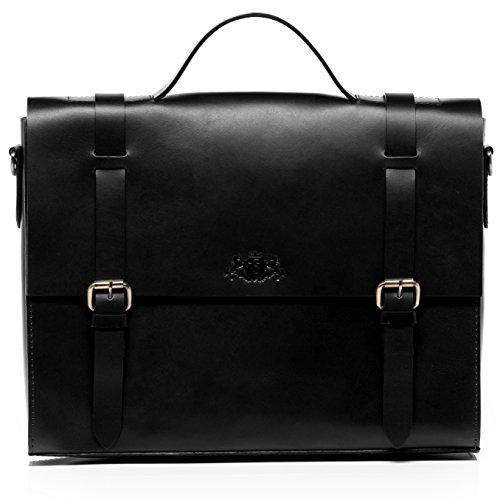 SID & VAIN Aktentasche echt Sattel-Leder Boston groß Businesstasche 15.6' Laptop...