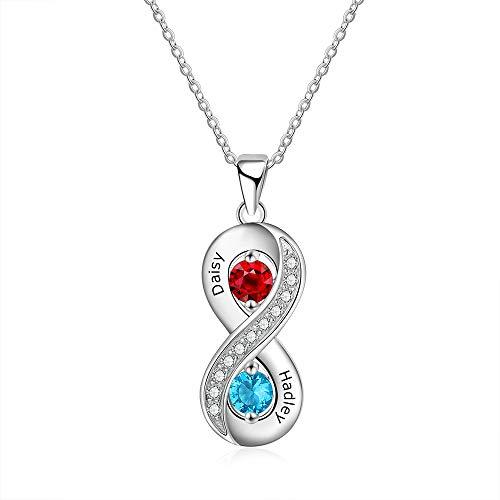 XiXi Personalisierte Unendlichkeit Halskette Silber 925 Simulierter Geburtsstein Kette mit Namen Gravur Damen Ketten für Geschenk für Valentinstag Jahrestag Verlobungen