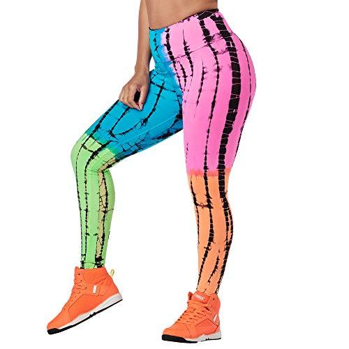Zumba Comfy Elastici Fitness Leggings a Vita Alta Fitness Pantaloni Donna da Allenamento, Multi A, XL